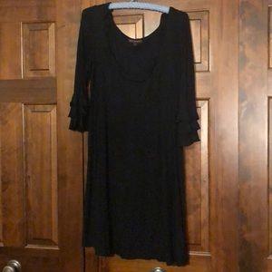 Betsey Johnson Black Ruffle Knit Dress
